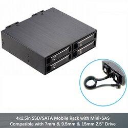 2.5in Alluminio 4-bay mobile Rack Backplane per 2.5in SATA/miniSAS unità Hot-Swap Ssd/Hdd da 7-15mm recinzione di hdd