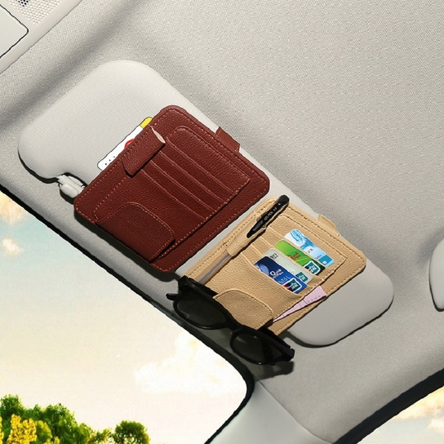 4 colors auto car ticket receipt credit card clip pu leather cd sun