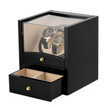 US/UK/AU/EU Plug Automatic Watch Winder Drawer Storage Box 2+2 Motor Shaker Holder Mechanical Self Wind Watches Winders Box luxury automatic watch winding box single holder silent motor storage box winder case for mechanical self wind clocks with plug