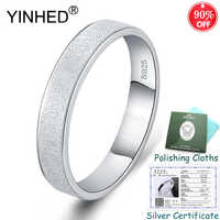Sent Silver Certificate! YINHED Fashion Frosted Couple Rings 100% 925 Sterling Silver Jewelry Anniversary Gift for Lovers ZR555