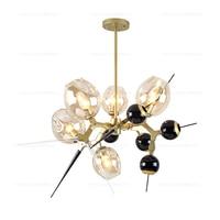 Modern Lamp Suspendue Lumiere LED A Manger Lit Chambre Foyer Rond Boule De Verre Noir Or Nordique Simple Moderne Pendant Lamp