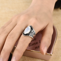 Vintage Silver Big Stone Ring for Women Fashion Bohemian Boho Jewelry 2018 New Hot 4