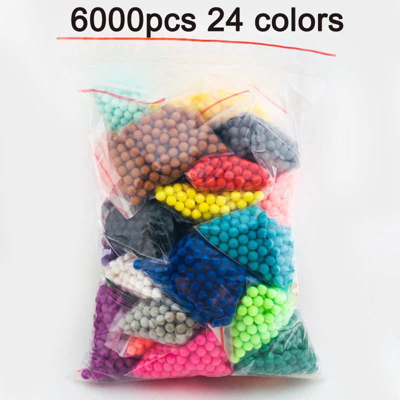 DOLLRYGA 6000pcs 24color Beads Puzzle Crystal Color Aqua DIY Beads Water Spray Set Ball Games 3D Handmade Magic Toy for Children(China)