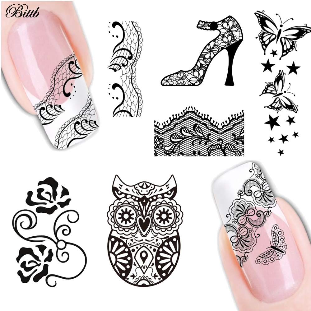 Bittb 1Pc Lace Black Nail Art Stickers Water Transfer Adhesive Tip Adorn Foil Manicure Decoration Nail Sticker Decal Makeup Tool
