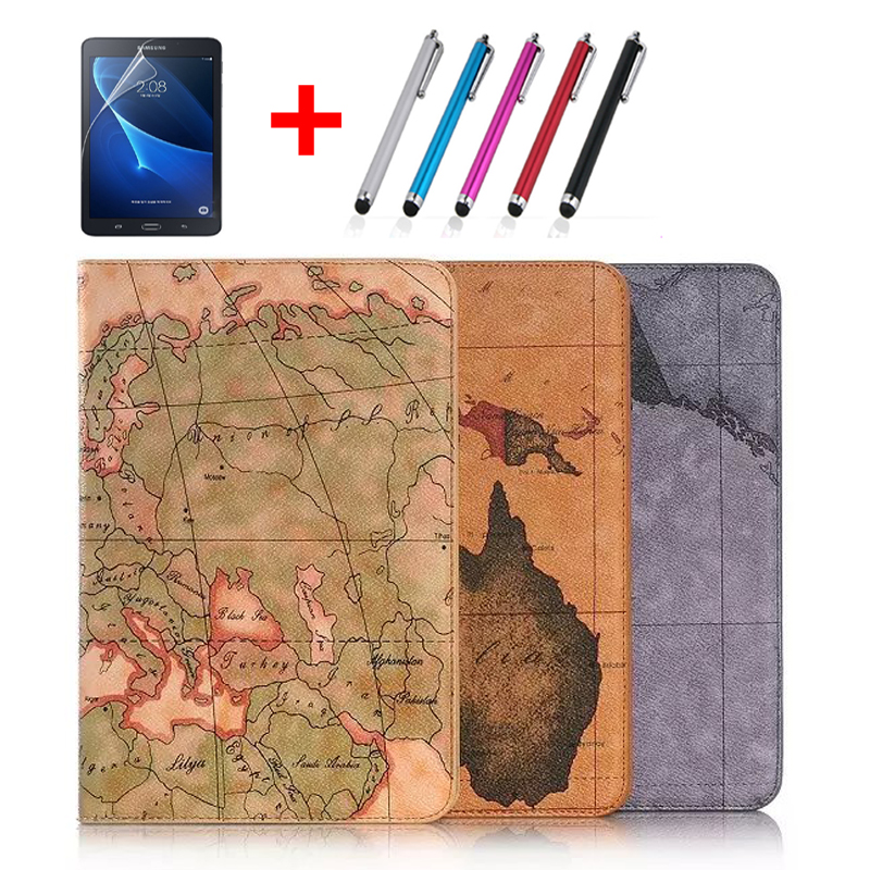 map Painting PU Leather Stand Case with Card Slot for Samsung Galaxy Tab A 8.0 T350 T351 T355 SM-t355 P350 Tablet Smart Cover world map card holder slot folio stand