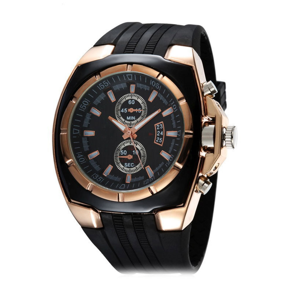 Fashion Business Gentleman Men Silicone Strap Quartz Analog Wrist Watch Gift