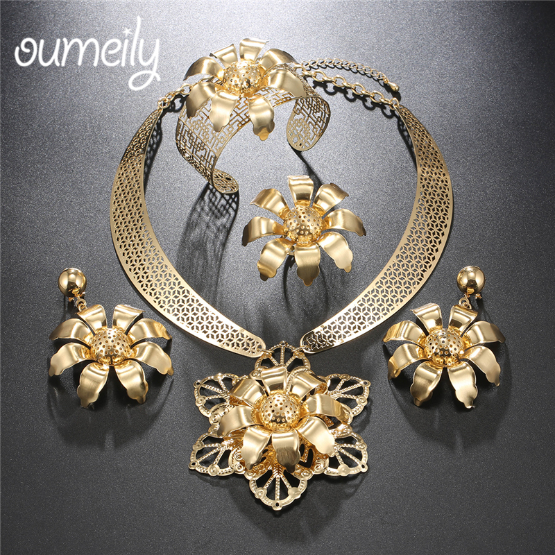 OUMEILY Fashion Jewelry Sets African Beads Jewelry Set Trendy Flower Bridal Dubai Turkish Women Wedding Costume Jewelry Set