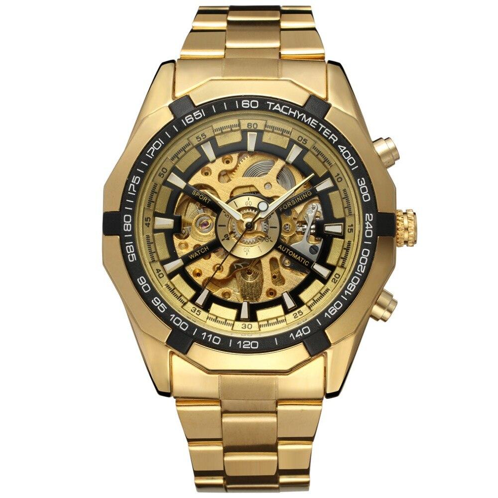 Forsining Watch font b Men b font Fashion Relogio Masculino Automatic Mechanical gold skeleton vintage watch