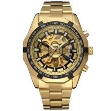 Forsining Hombres Del Reloj de Manera Relogio masculino reloj Mecánico Automático esquelético del oro de la vendimia 2016 Reloj Para Hombre de Primeras Marcas de Lujo