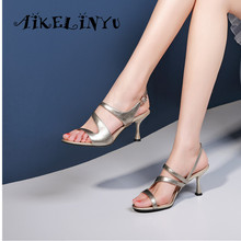 AIKELINYU Summer Pure Genuine Leather Women Sandals Stiletto Office Shoes Solid Buckle Strap Classics Fashion Sexy Lady