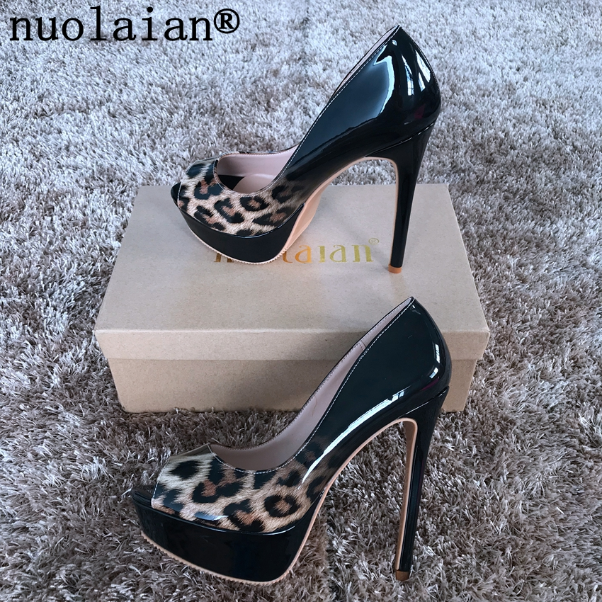 14CM Women's Sandals Leopard High Heel Shoes Woman Platforms Pumps Ladies Peep Toe High Heels Women Platform Shoes Wedding 2018 new women platform pumps sandals black mesh lace high heels peep toe shoes coarse heels woman wedding dress pumps