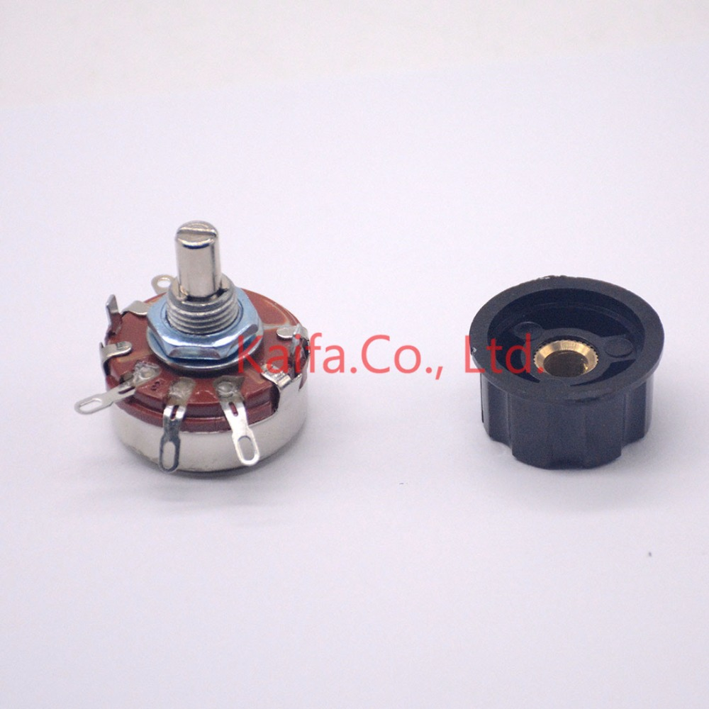 1 ps WTH118-1A 2W 470K ohm Rotary Taper Potentiometer with knob 2 Watts for resistance input solid state relay SSR cloud solid adjustable potentiometer ws 20 100r 220r 470r 4 7k 22k 47k 68k 470k