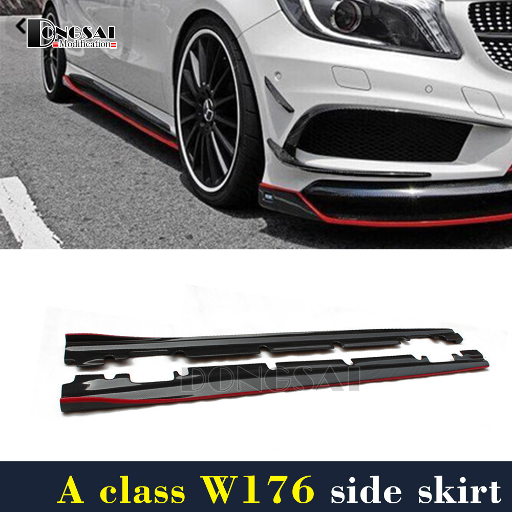 Mercedes Gloss Black with Red Line Revozport Look Side Skirt suit for Benz A Class W176 2013-2017 A180 A200 A250 A45 AMG