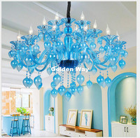 Free Shipping SkyBlue Color Crystal Chandelier Light Luxury E14 LED K9 Glass Chandeliers Lamp Suspended Light Lustres De Cristal