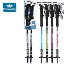 PIONEER 2Pcs Telescopic Carbon Trekking Poles Walking Cane Adjustable Anti-shock Nordic Walking Stick Climbing Hiking Poles цена в Москве и Питере