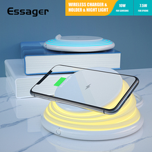 Essager Qi Wireless Charger For iPhone Samsung Xiaomi 10W Fast Charging Pad Dock Station Night Light Phone Holder Stand