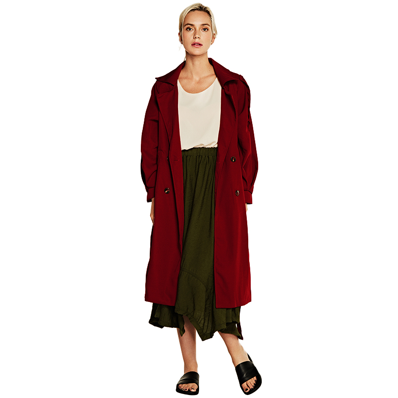 Women Double Breasted Button Long   Trench   Coat Raglan Sleeves Turn-down Collar Belted Waist Casual Long Coat Outwear