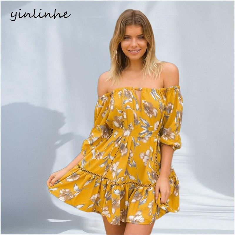 Yinlinhe Yellow Off Shoulder Summer Dress Short Sleeve