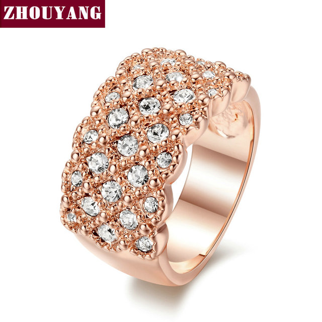ZHOUYANG Top Quality ZYR020 Fully-Jewelled Ring  Rose Gold Plated  Wedding Ring  Austrian Crystals Full Sizes Wholesale