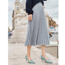 INMAN Autumn Natural Waist Retro Style A Line Plaid Women Long Skirt(China)