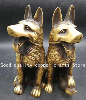 China archaize Brass dog Wealth Statue A pair