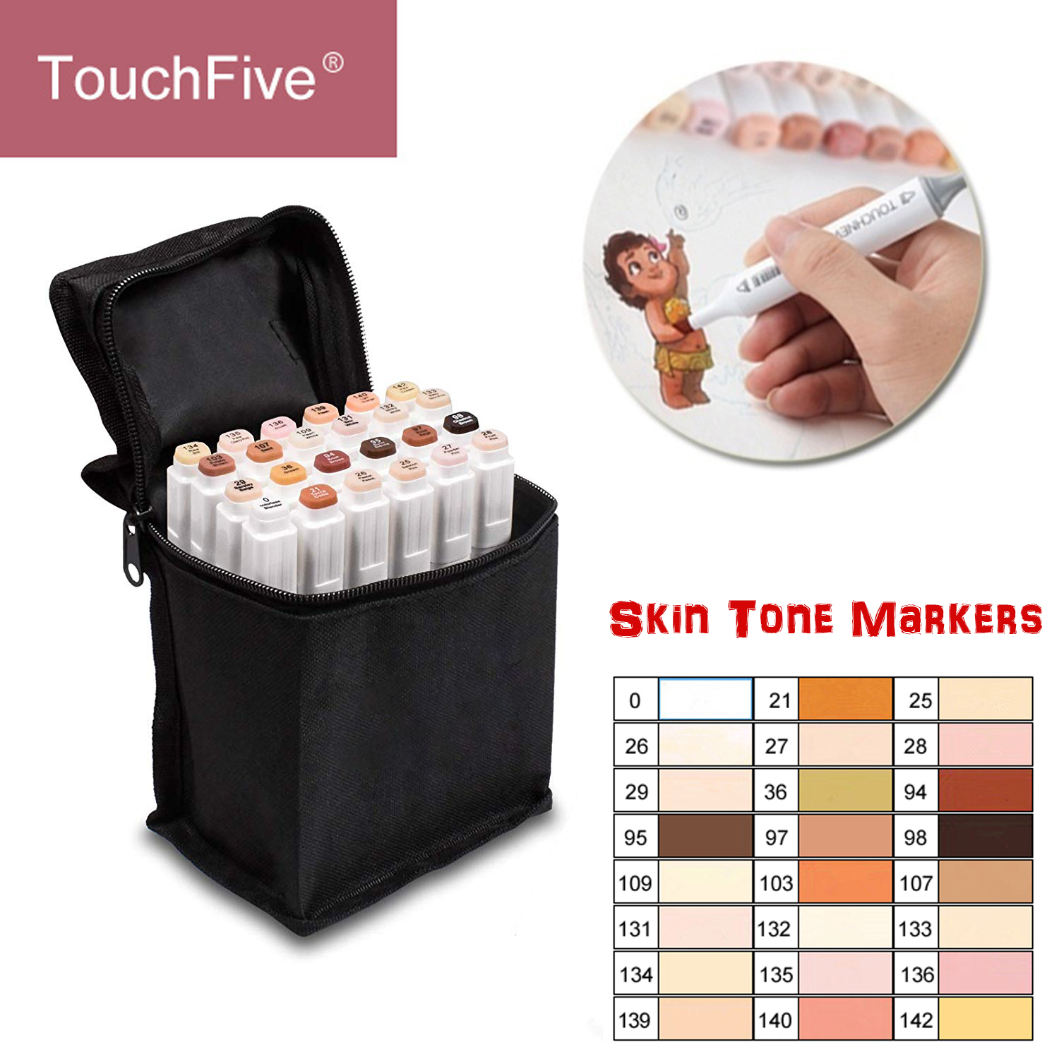 TOUCHFIVE 24 Colors Skin Tones Set Art Markers Pen Artist Dual Headed Alcohol Based Manga Brush Pen For Coloring