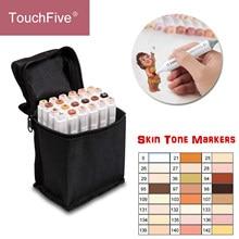 Touchcinco conjunto de tones de pele 24 cores, caneta marcadora de arte, artística, cabeça dupla, álcool, caneta de escova para coloração