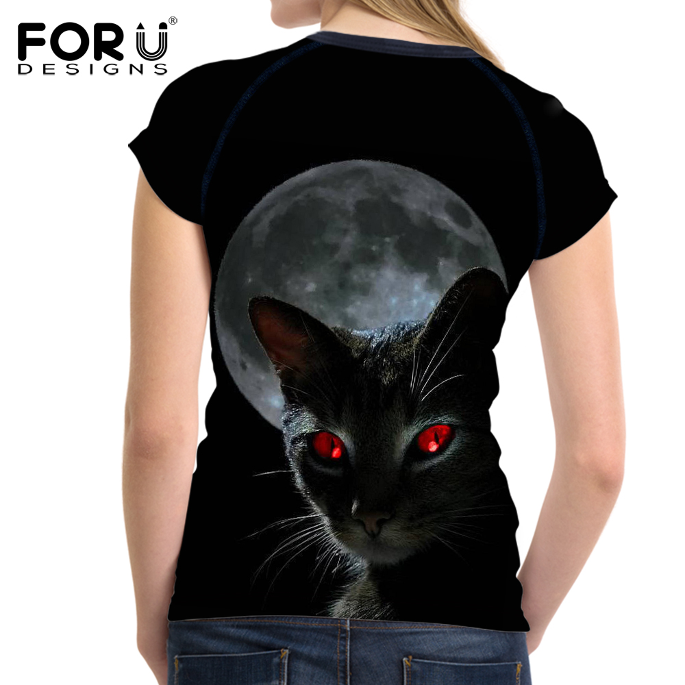 Women's Clothing Forudesigns Funny 3d Boxinger Black Cat Printed Summer Women T Shirts White Female Short Sleeve Top Crops Bodybuilding Tee Shirt