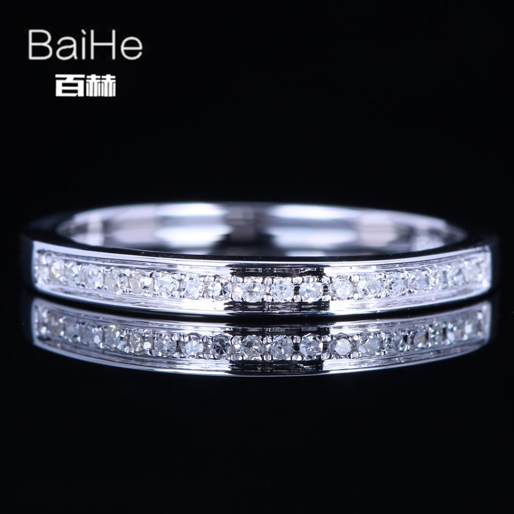 BAIHE Sterling Silver 925 0.14CT Certified H/SI Round 100% Genuine Natural Diamonds Wedding Women Trendy Fine Jewelry Ring  BAIHE Sterling Silver 925 0.14CT Certified H/SI Round 100% Genuine Natural Diamonds Wedding Women Trendy Fine Jewelry Ring