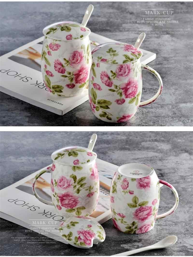 450 ML, floral rose blossom pintura, bone china caneca assecla, cerâmica canecas térmicas, vente tasse, com colher & lábio