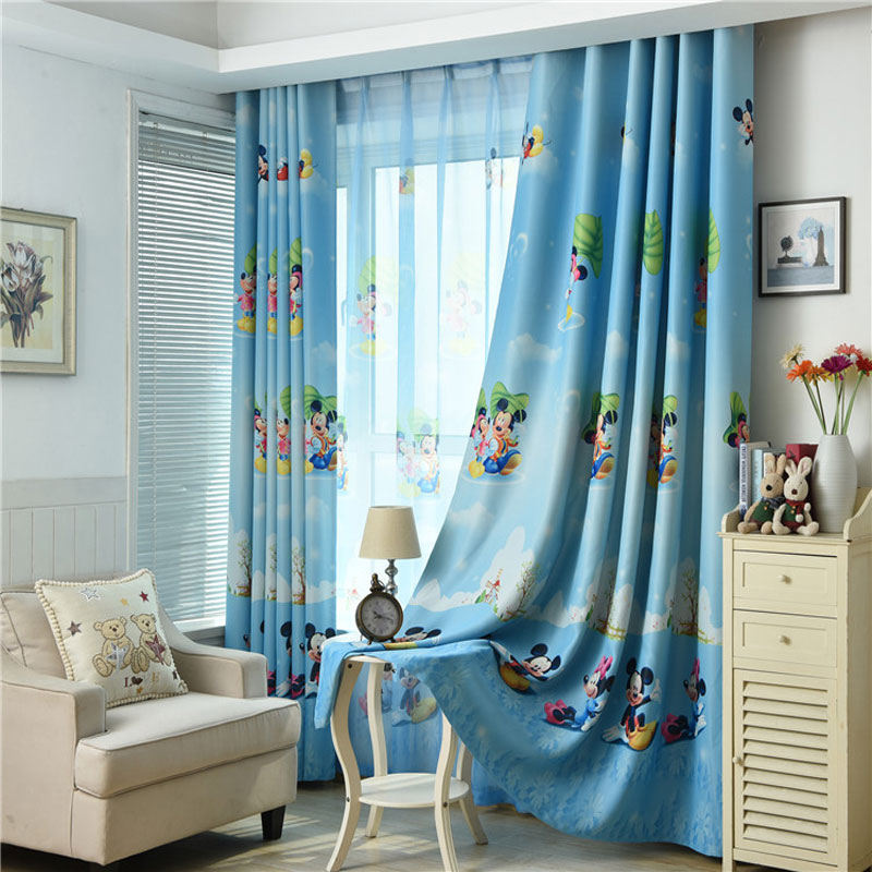 US $14.26 38% OFF|New blue Mickey Mouse print children\'s curtains boys  bedroom children\'s room window pure customizable curtains-in Curtains from  Home ...