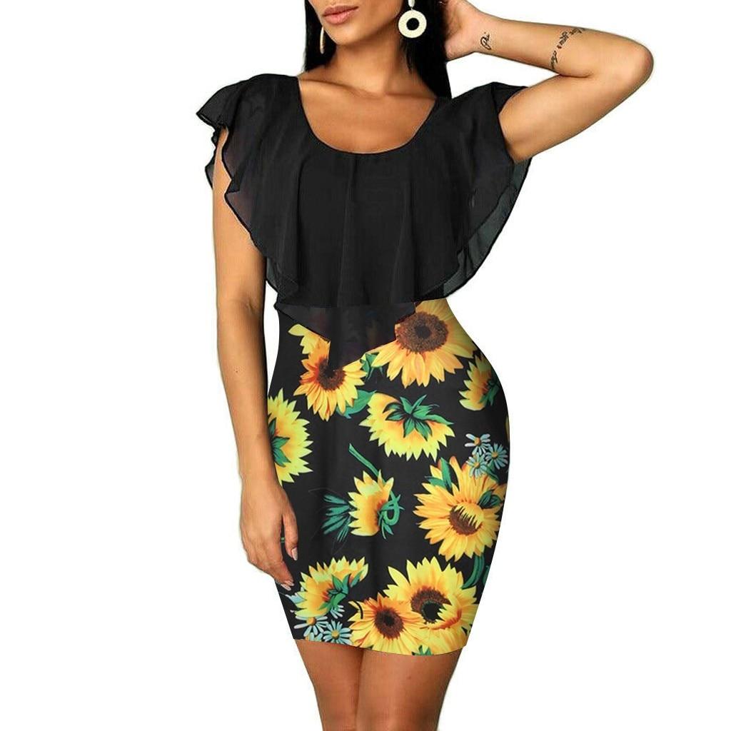 HTB16VtcVYPpK1RjSZFFq6y5PpXam Sexy Womens Sunflower Summer Bodycon Dress Sleeveless Printed Holiday Party Short Mini Dresses Ruffle Summer Dress 2019 Vestido