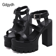 Gdgydh Rome Style Block Heel Ankle Strap Sandals Woman Platform Shoes On Summer High Heels Shoes Female Solid Black New Arrival(China)