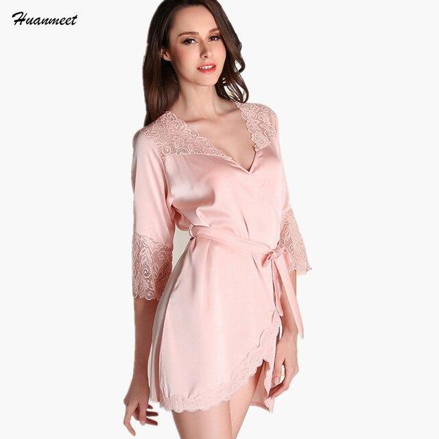 Для женщин рубашки халат сексуальное нижнее белье пижамы халат Кружево мини  невесты Халаты Сексуальная атласная ночная 455b0d6ab8839