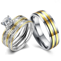 Double Stripe Stainless Steel Couple Rings Luxury CZ Stone Crystone Ring for Women Suitable for Wedding Godly Jewels 2019 New
