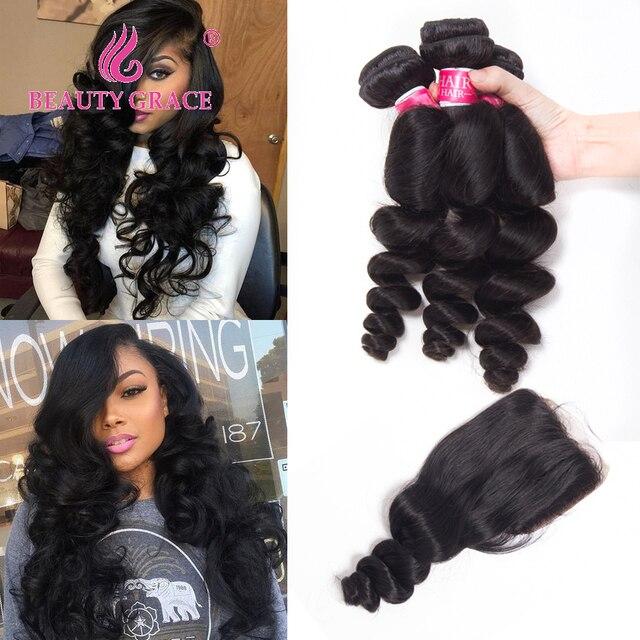 Beauty Grace Brazilian Hair Weave Loose Wave Bundles With Closure Human Hair Bundles With Closure NonRemy 3 Bundles With Closure