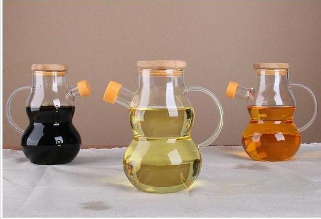 1PC 500ML Glass Cruet Olive Oil Bottle Pourer Vinegar Sauce Dispenser OK 0356