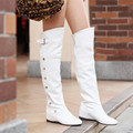 Big Size 34-47 Women's Boots 2017 Spring Autumn Boots New fashion ladies Knee high boots buckle rivets high-leg long boots