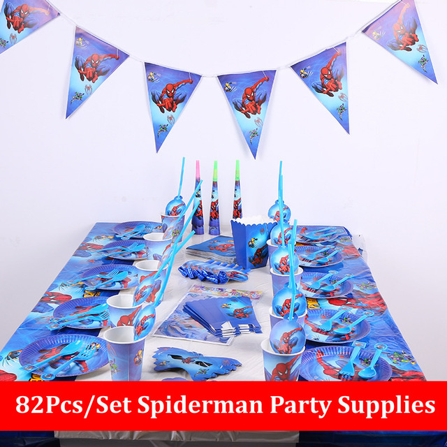 82pcs Spiderman Birthday Party Supplies Disposable Plate/Cup/Tablecloth/Fork/spoon napkin Baby Shower Decoration kids Favors
