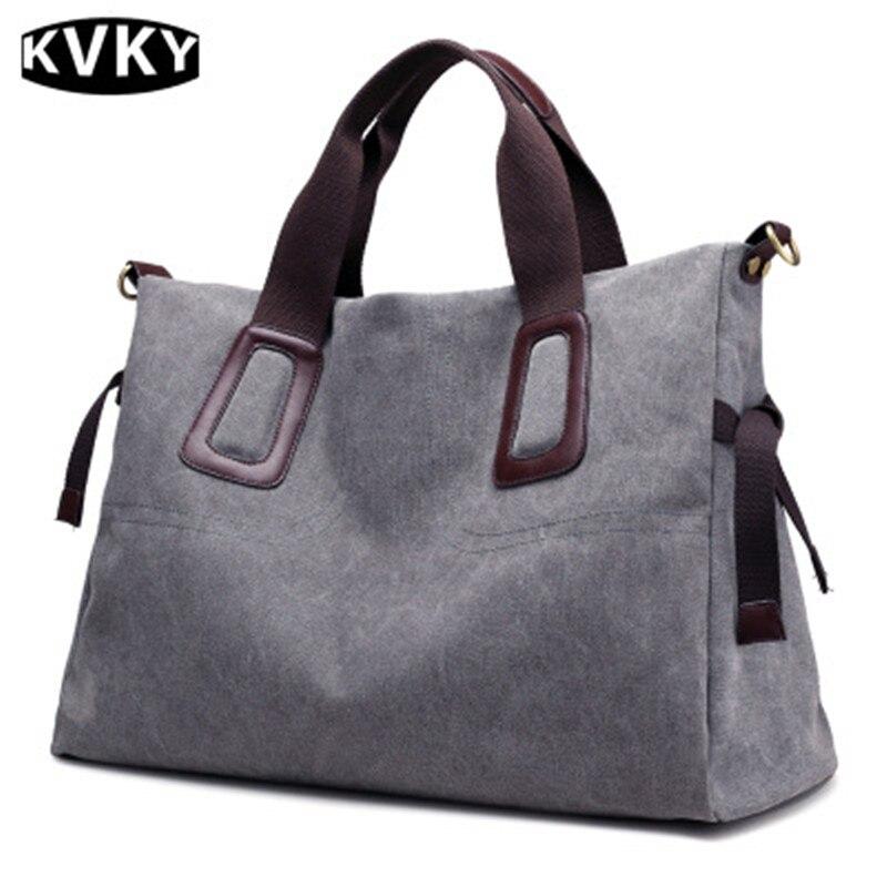 KVKY Women's Solid Canvas Tote Handbag Winter Casual Big Capacity Travel Shoulder Bag Vintage Crossbody Messenger Bag Bolsa цена