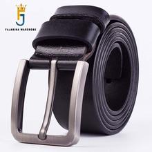 FAJARINA Quality 38mm Simple Clasp Buckle Design Fashion Retro Belts for Men Jeans Mens Geunine Leather Belts for Men N17FJ110