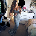 Hot Sale red carpet Celebrity Dress 2016 Sleeveless Floor-Length V-neck Mermaid Evening Dress Sexy Off the Shoulder Evening Gown