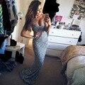 Venta caliente red carpet Vestido de La Celebridad 2016 Sin Mangas de la Piso-Longitud V-cuello de La Sirena Del Vestido de Noche Sexy Fuera del Hombro vestido de Noche vestido