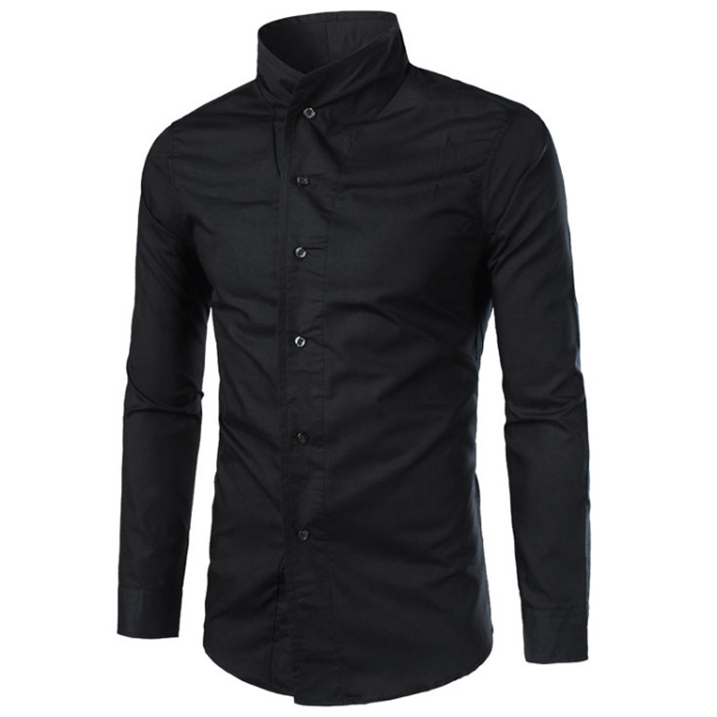 Men Shirt Long Sleeves 2018 Brand Shirts Men Casual Male Slim Fit Personality Stand Collar Chemise Mens Camisas Dress XXL IJHS ...