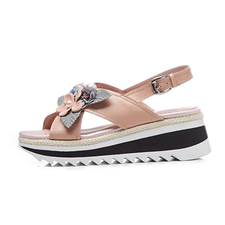 Para Moda 2018 Las Casuales De Zapatos Flores Plataforma Deporte Mujeres {zorssar} Punta Sandalias Abierta Rosado Verano Tacones blanco Zqx0d5xwf