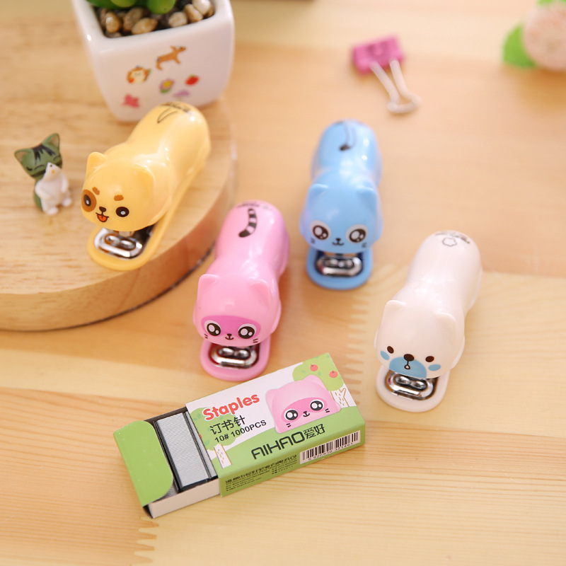 Cute Dog And Cat Stapler 1000 Pcs Mini Staple For Binding Oaper Stationery Office School Supplies Grapadoras De Oficina F116