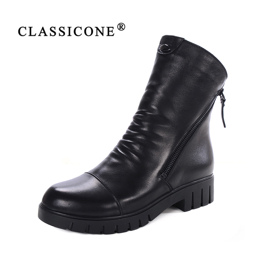CLASSICONE 2017 woman winter shoes ankle boots genuine leather warm wool fur snow boots women's flats shoes brand fashion style muhuisen winter men genuine leather shoes fashion casual plush warm boots lace up flats male snow boots fur inside comfort