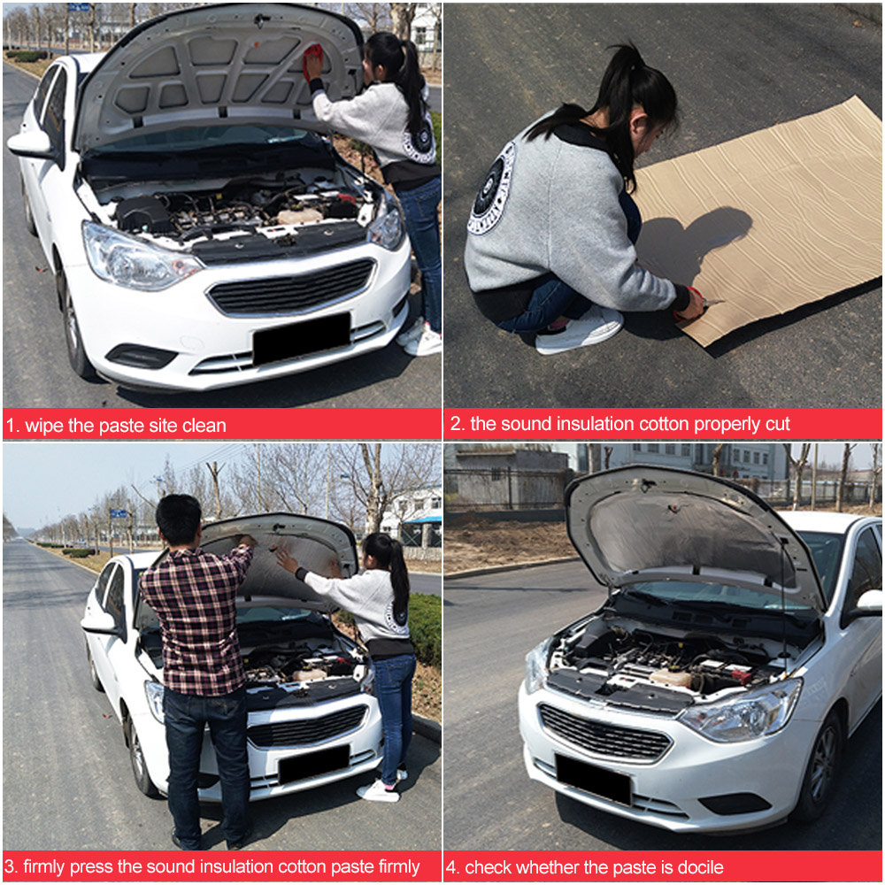 3 Large Sizes Optional Auto Car Firewall Heat Noise Sound Insulation Deadening Blanket For Launcher 10 Microwaves Civic Vw In