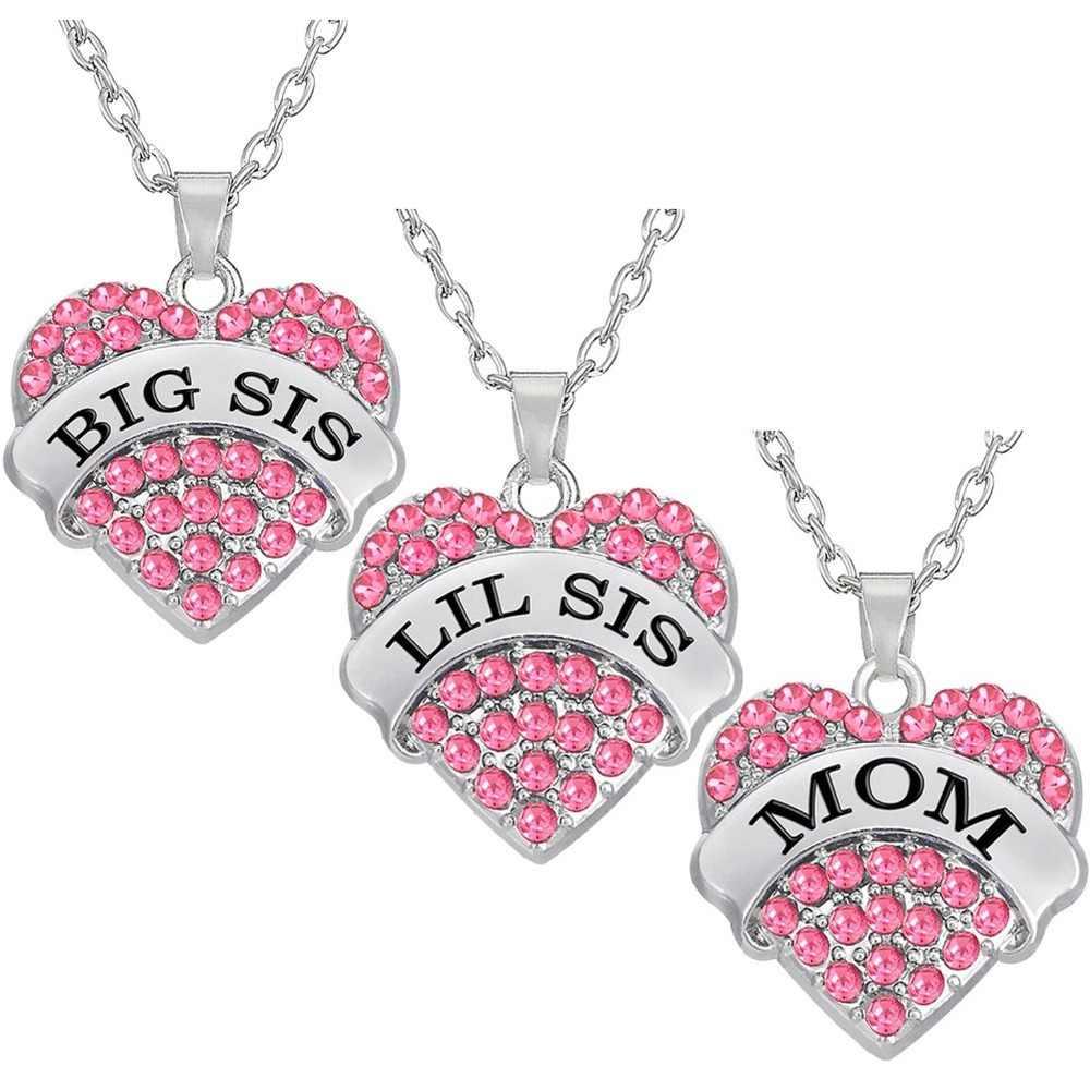 שלי צורת אופנה ורוד גדול המלטת אחות אמא קריסטל לב שרשרת & תליוני אמא בת תכשיטי למשפחה מתנות 1 PCS
