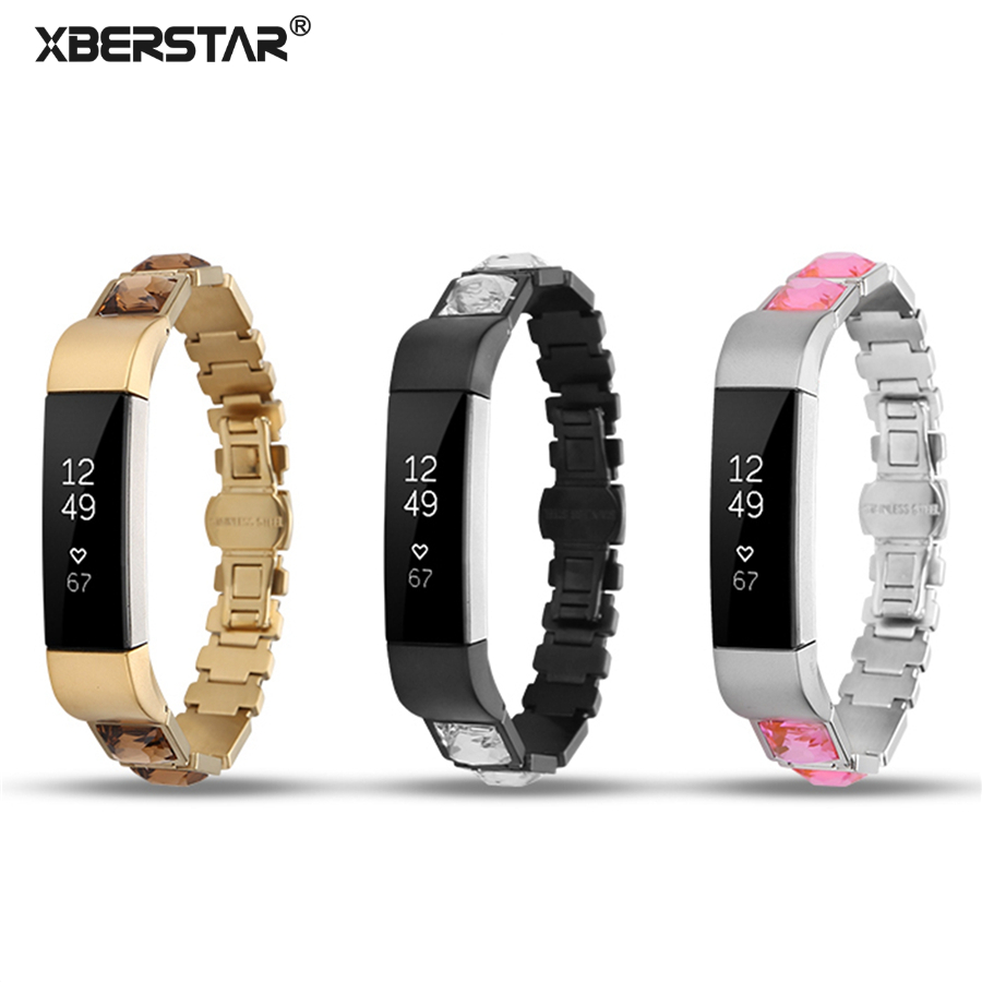 XBERSTAR Watchband Strap for for Fitbit Alta / Alta HR Replacement band Rhinestone Diamond Stainless Steel Link Bracelet high quality stainless steel bracelet watchband strap for fitbit alta watch band wristband replacement band strap